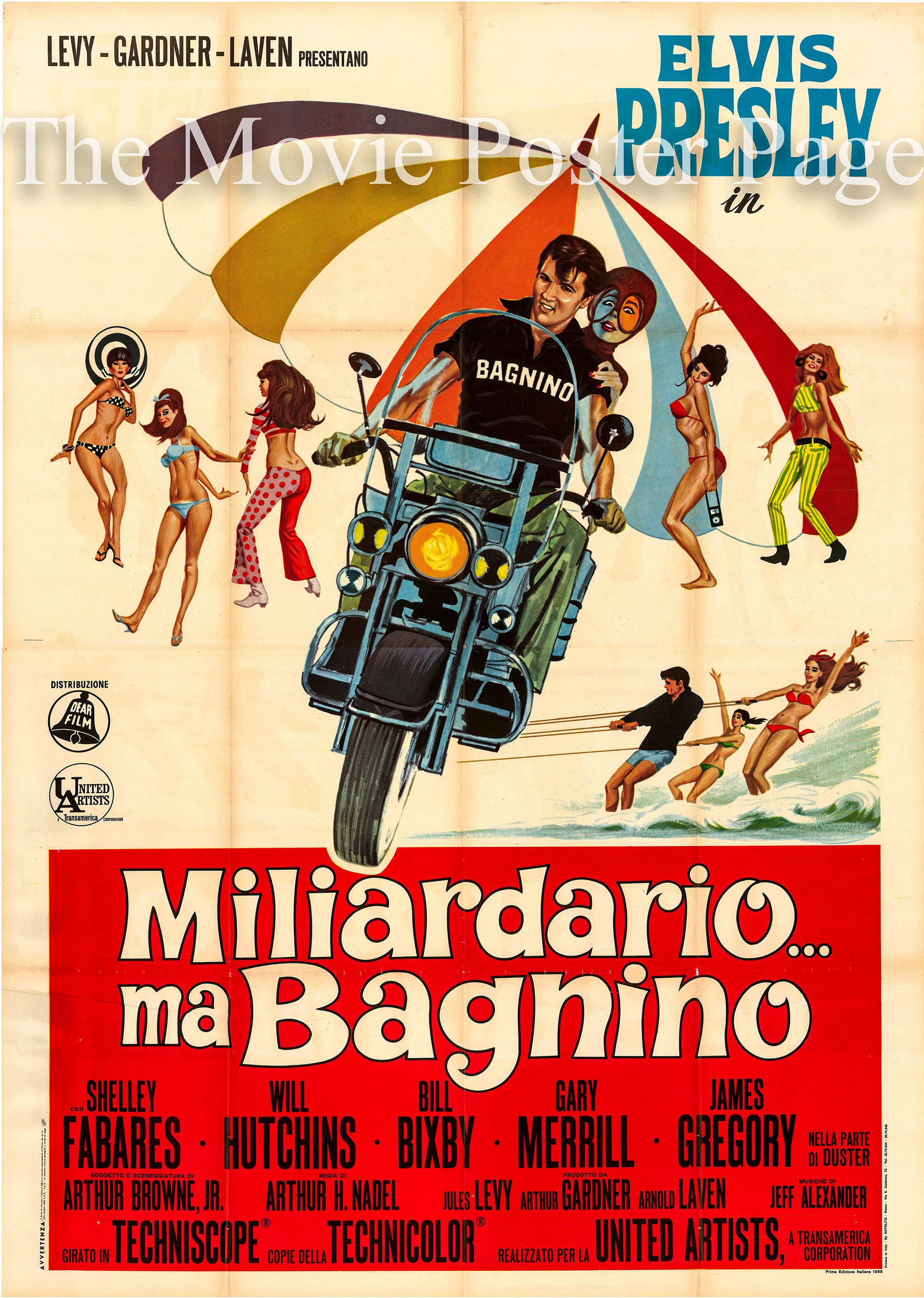 Pictured is an Italian four-sheet promotional poster for the 1967 Arthur H. Nadel film Clambake starring Elvis Presley.