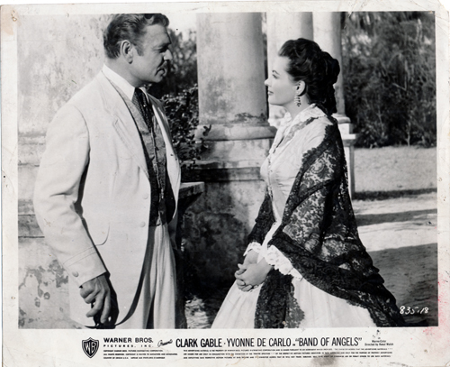 Pictured is a US promotional still photo from the 1957 Raoul Walsh film Band of Angels starring Clark Gable.