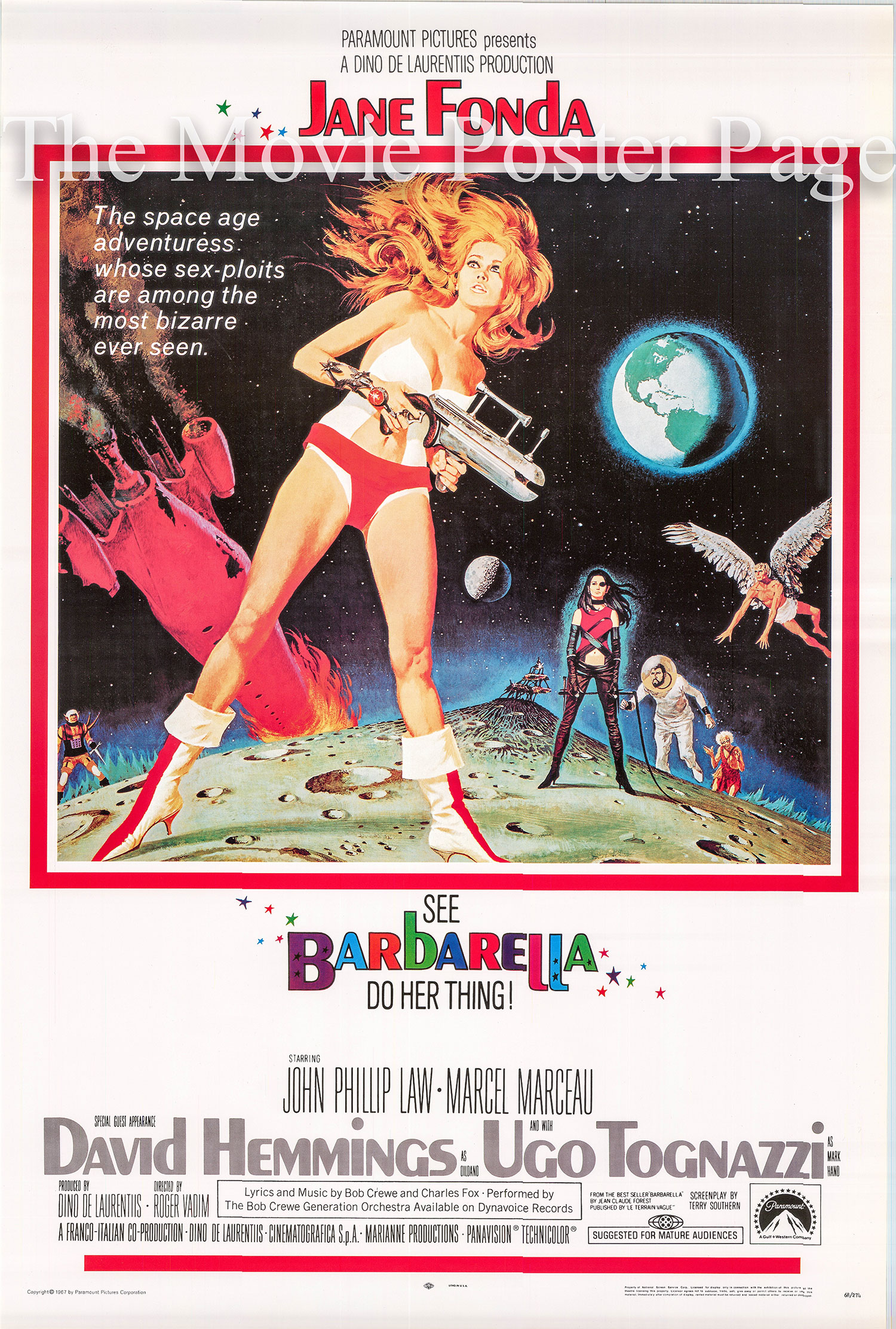 Pictured is a reprint of a US one-sheet promotional poster for the 1968 Roger Vadim film Barbarella starring Jane Fonda.