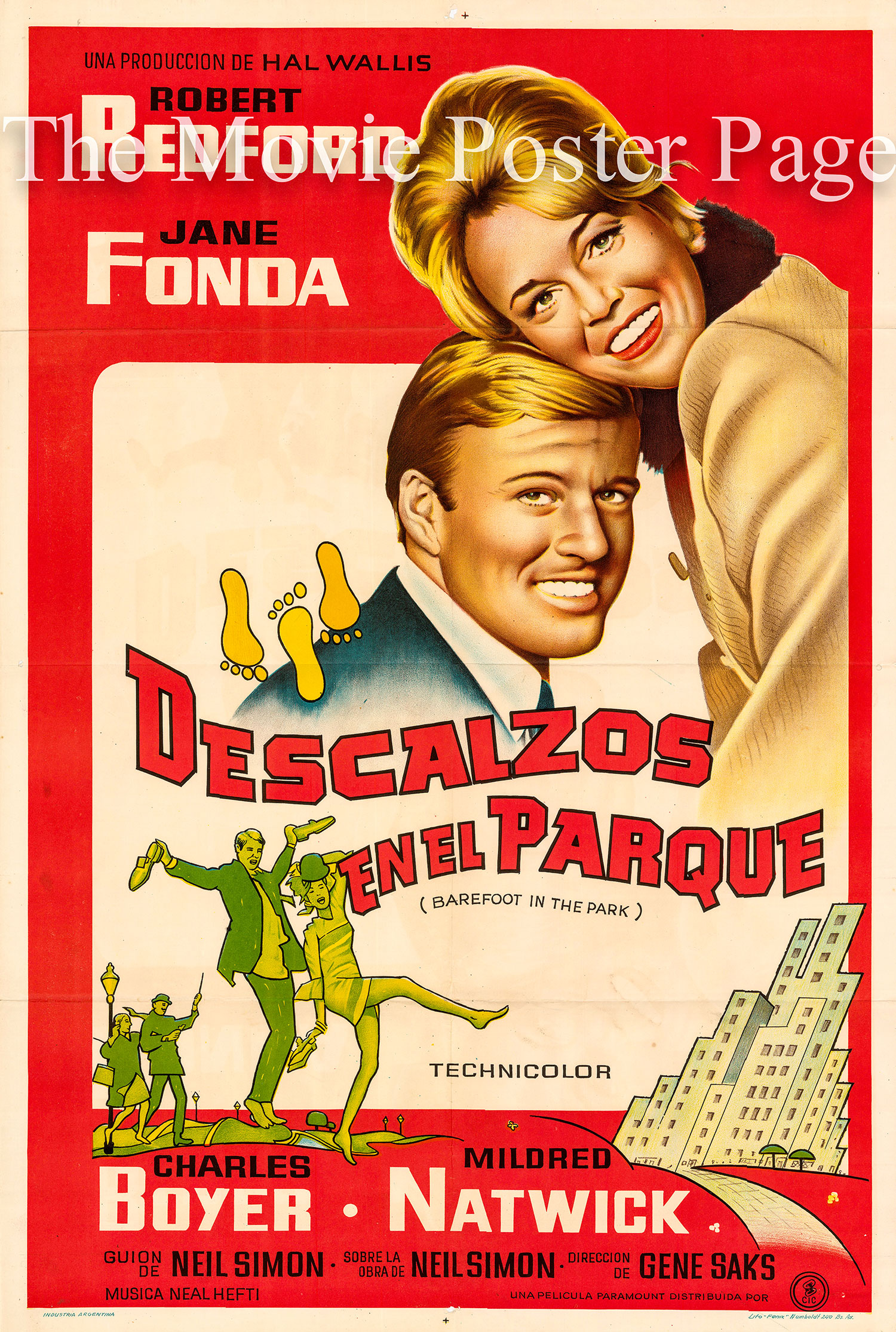 Pictured is an Argentine promotional one-sheet for the 1967 Gene Saks film Barefoot in the Park starring Jane Fonda and Robert Redford.