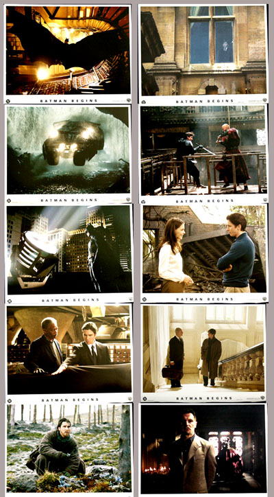 Pictured is a set of 10 US promotional lobby cards for the 2005 Christopher Nolan film Batman Begins starring Christian Bale.