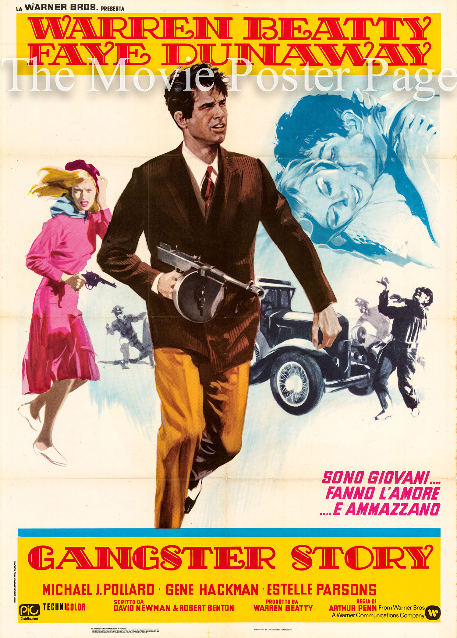 Pictured is an Italian two-sheet poster for the 1967 Arthur Penn film Bonnie and Clyde starring Warren Beatty and Faye Dunaway.
