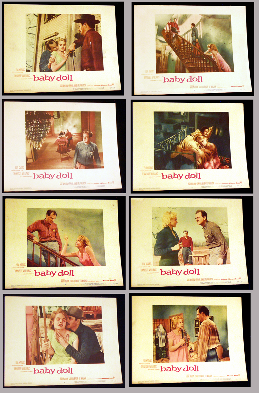 Pictured is a US lobby card set for the 1957 Elia Kazan film Baby Doll starring Carroll Baker, Eli Wallach and Karl Malden.