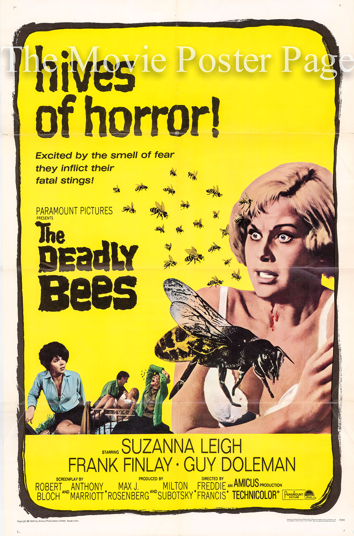 Pictured is a US promotional one-sheet poster for the 1967 Freddie Francis film The Deadly Bees starring Suzanna Leigh as Vicki Robbins.