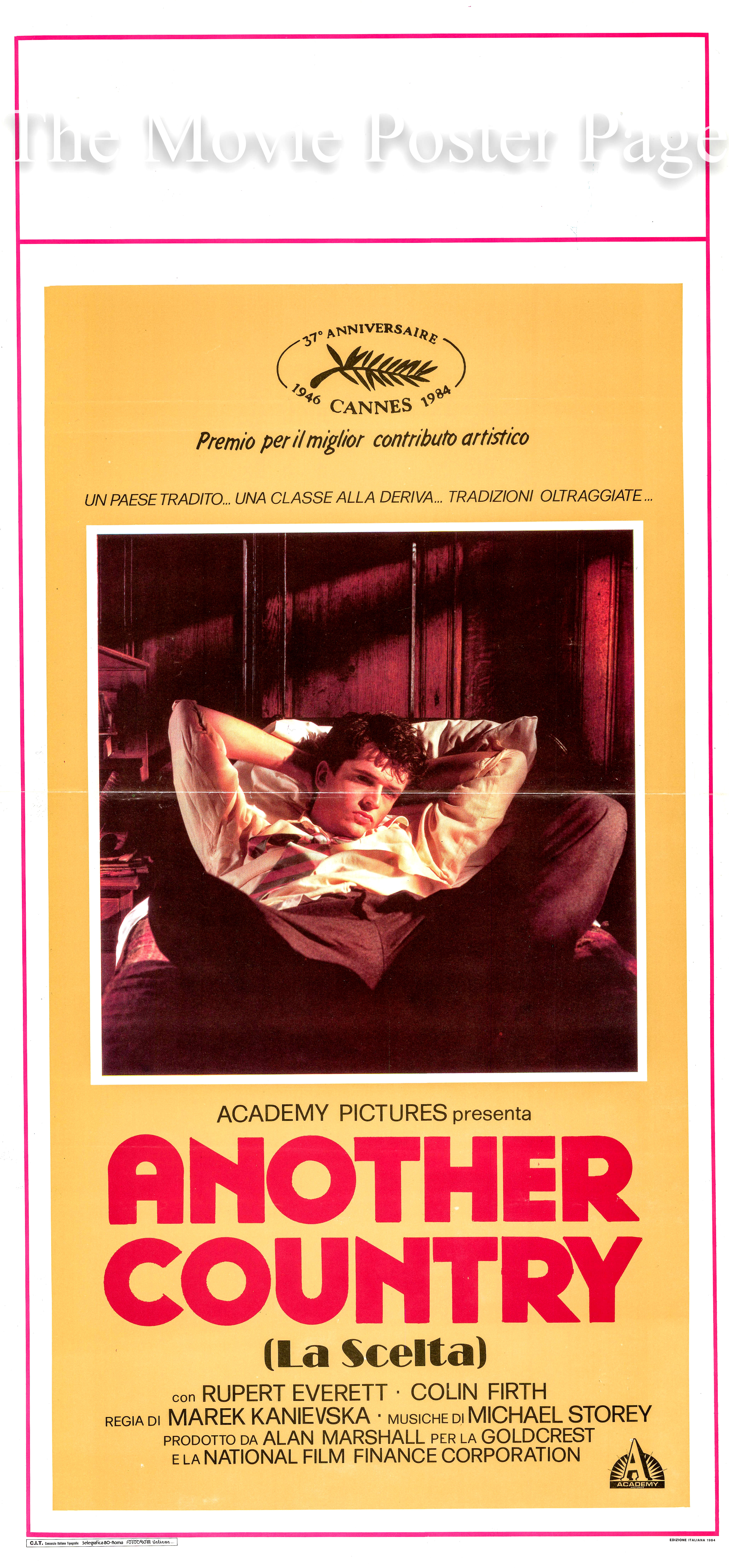 Pictured is an Italian locandina promotional poster for the 1984 Marek Kanievska film <i>Another Country</i> based on play and screenplay by Julian Mitchell and starring Rupert Everett as Guy Bennett.