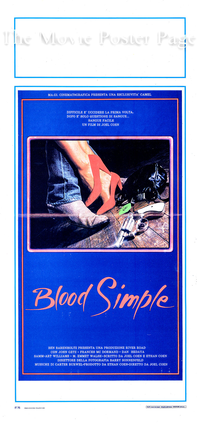 Pictured is an Italian locandina promotional poster for the 1984 Coen Brothers film <i>Blood Simple</i> starring Frances McDormand as Abby.