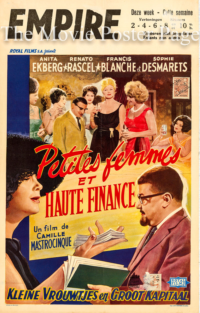 Pictured is a Belgian poster for the 1960 Camillo Mastrocinque film Little Girls and High Finance starring Anita Ekberg.