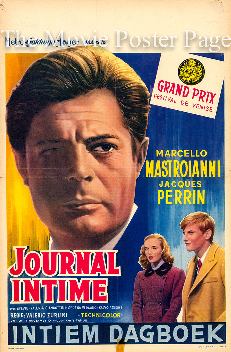 Pictured is a Belgian poster for the 1963 Valerio Zurlini film Family Diary starring Marcello Mastroianni.