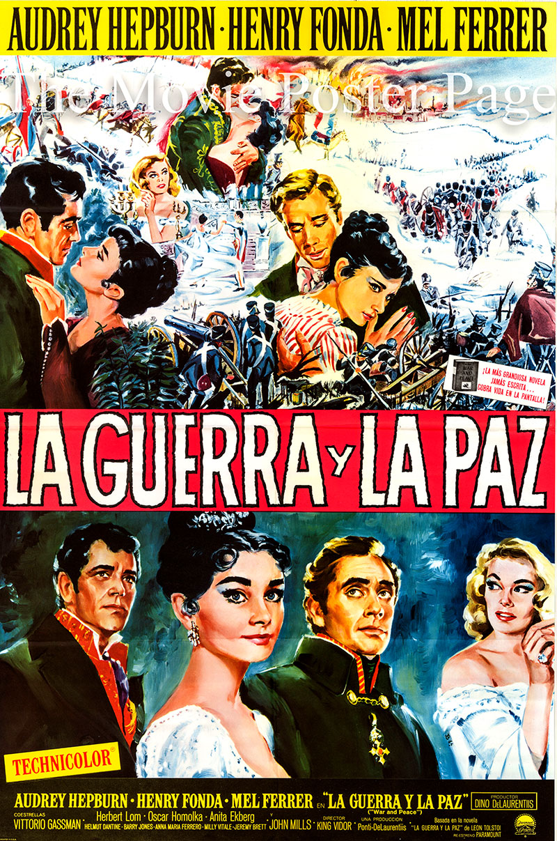 Pictured is a Spanish promotional poster for a 1963 rerelease of the 1956 King Vidor film War and Peace starring Audrey Hepburn, Mel Ferrer and Henry Fonda.