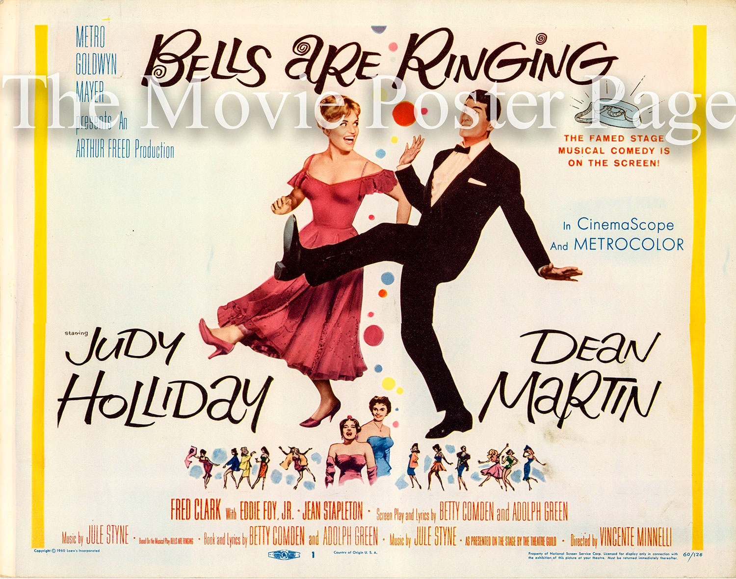 Pictured is a US title card for the 1960 Vincente Minelli film Bells Are Ringing.