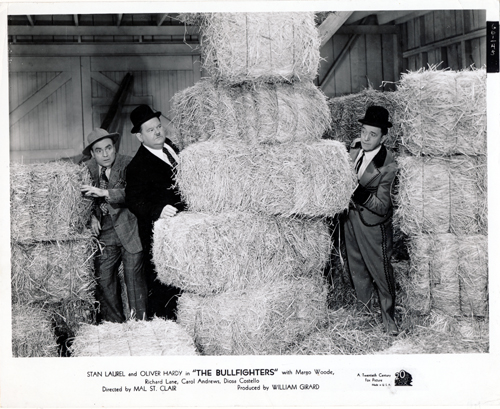 Pictured is a US promotional still photo from the 1945 Malcolm St. Clair film The Bullfighters starring Stan Laurel and Oliver Hardy.