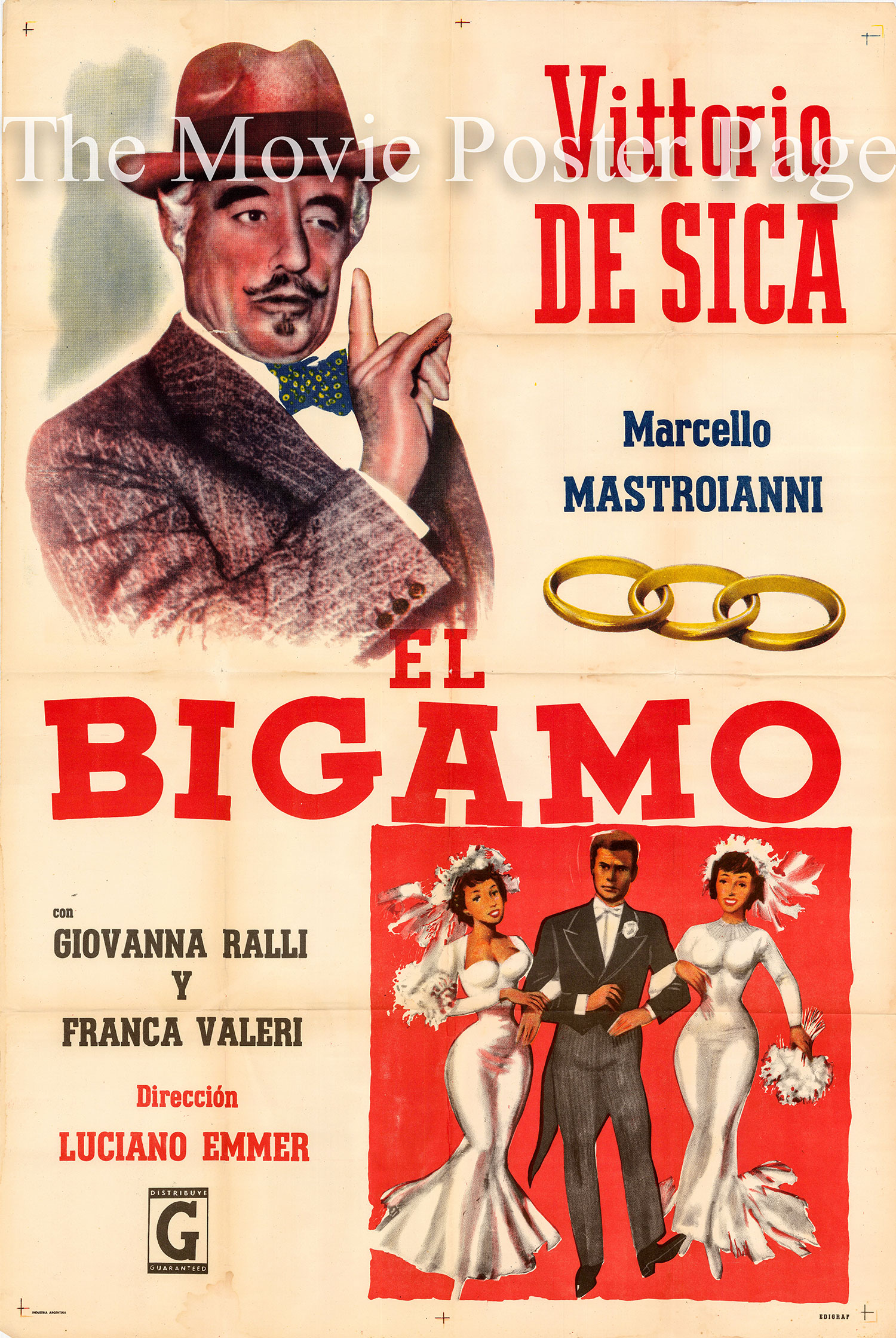 Pictured is an Argentine one-sheet poster for the 1956 Luciano Emmer film The Bigamist starring Marcello Mastroianni.