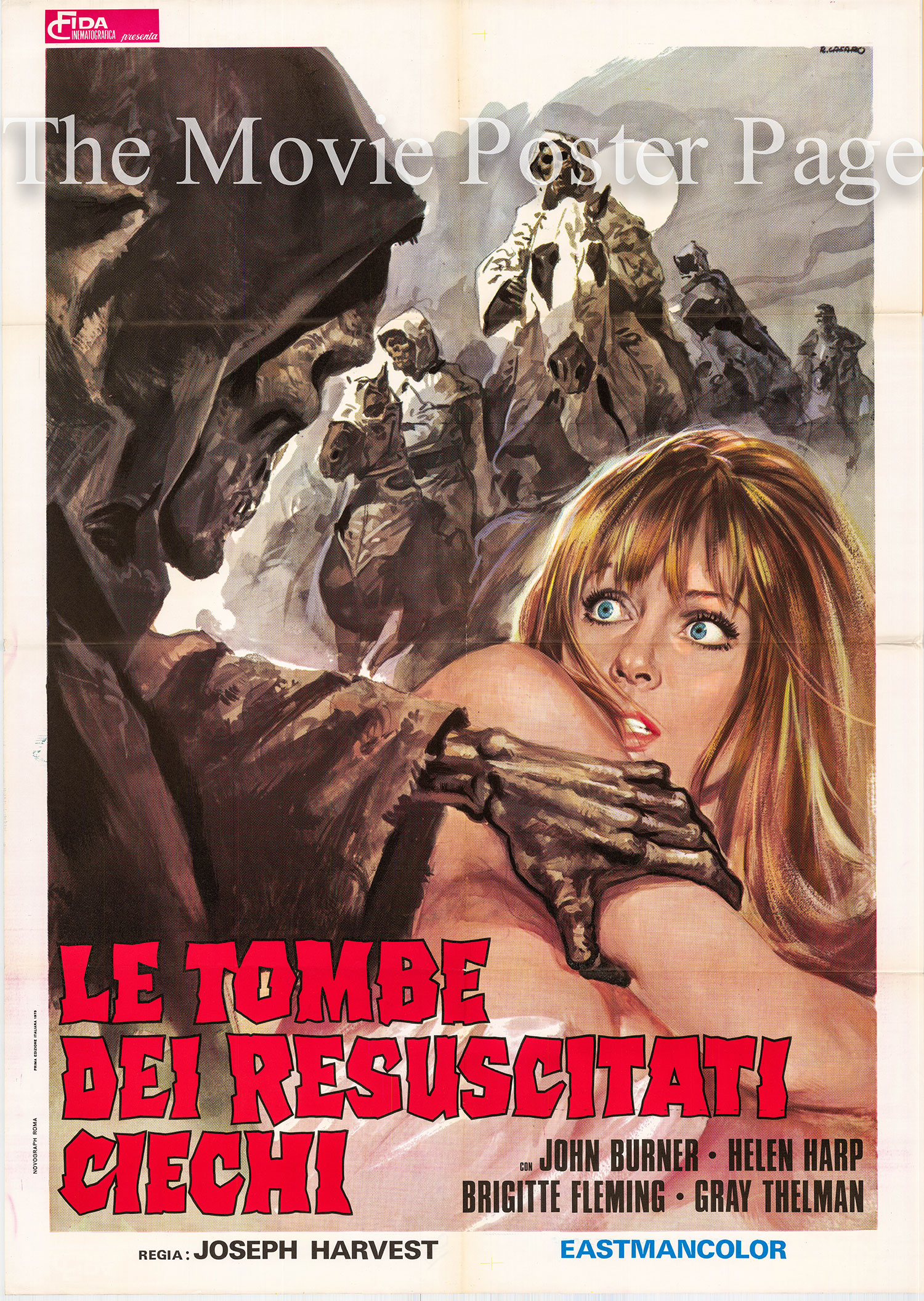Pictured is an Italian two-sheet poster for the 1971 Amand de Ossorio film <i>Night of the Blind Dead</i> starring Lone Fleming as Bettty Turner.