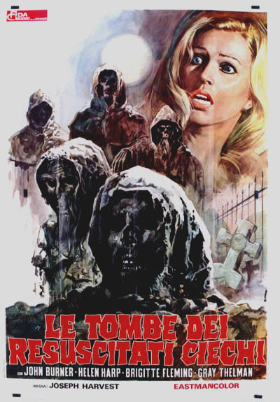 Pictured is an Italian four-sheet poster for the 1971 Amand de Ossorio film <i>Night of the Blind Dead</i> starring Lone Fleming as Bettty Turner.