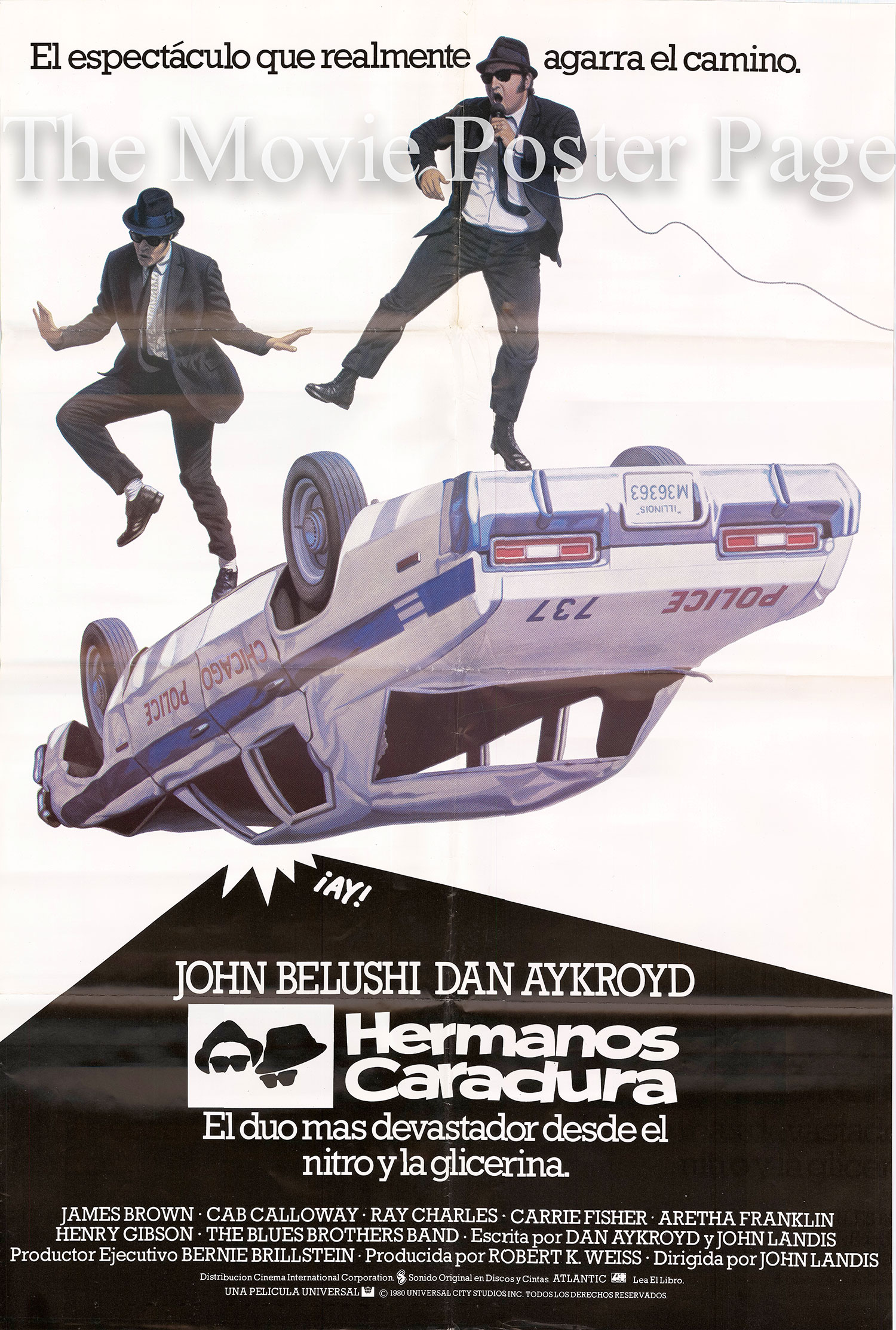 Pictured is a Spanish promotional poster for the 1980 John Landis film the Blues Brothers starring John Belushi and Dan Aykroyd.