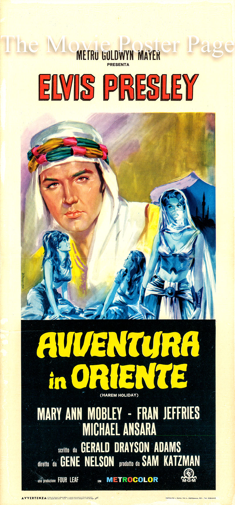 Pictured is an Italian locandina poster for the 1965 Gene Nelson film Harum Scarum starring Elvis Presley as Johnny Tyrone.
