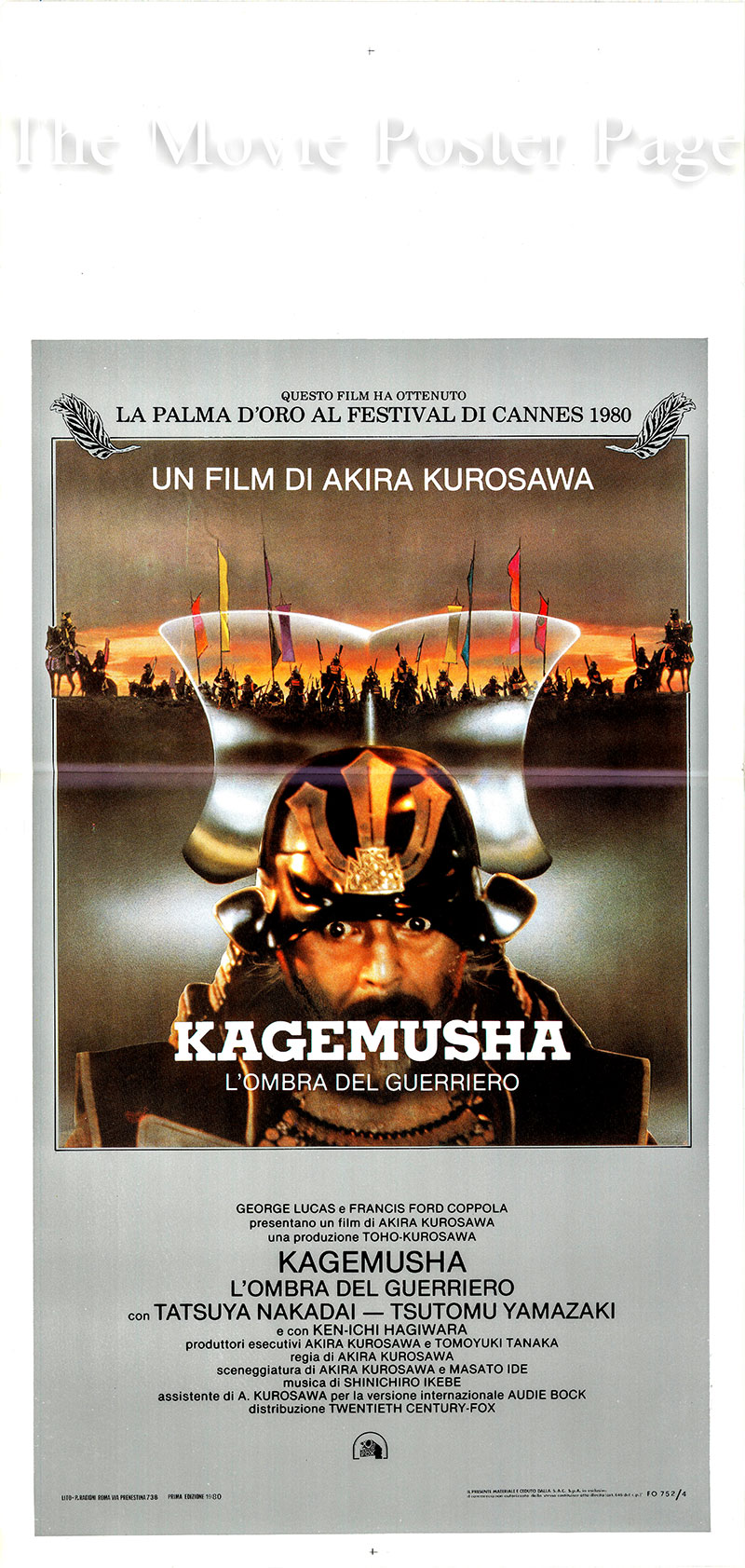 Pictured is an Italian locandina poster for the 1980 Akira Kurosawa film Kagemusha written by Masato Ide and Akira Kurosawa and starring Tatsuya Nakadai as the <i>kagemusha</i> [political decoy].  Plot summary:  In Medieval Japan a powerful warlord dies and a poor look-alike thief who had been recruited to impersonate him is left to carry on in his place.  The thief is not up to the task and clashes with the spirit of the dead warlord.