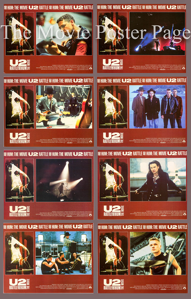 Pictured is a US lobby card set for the 1988 Phil Joanou film U2 Rattle & Hum starring U2.