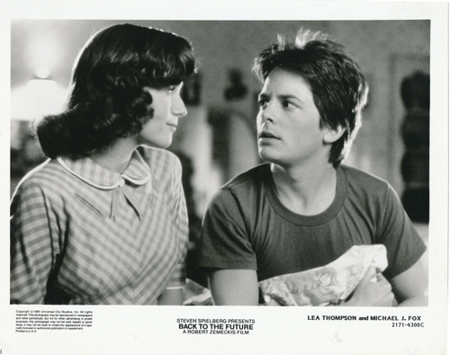 Pictured is a US promotional still photo from the 1985 Robert Zemeckis film Back to the Future starring Michael J. Fox.