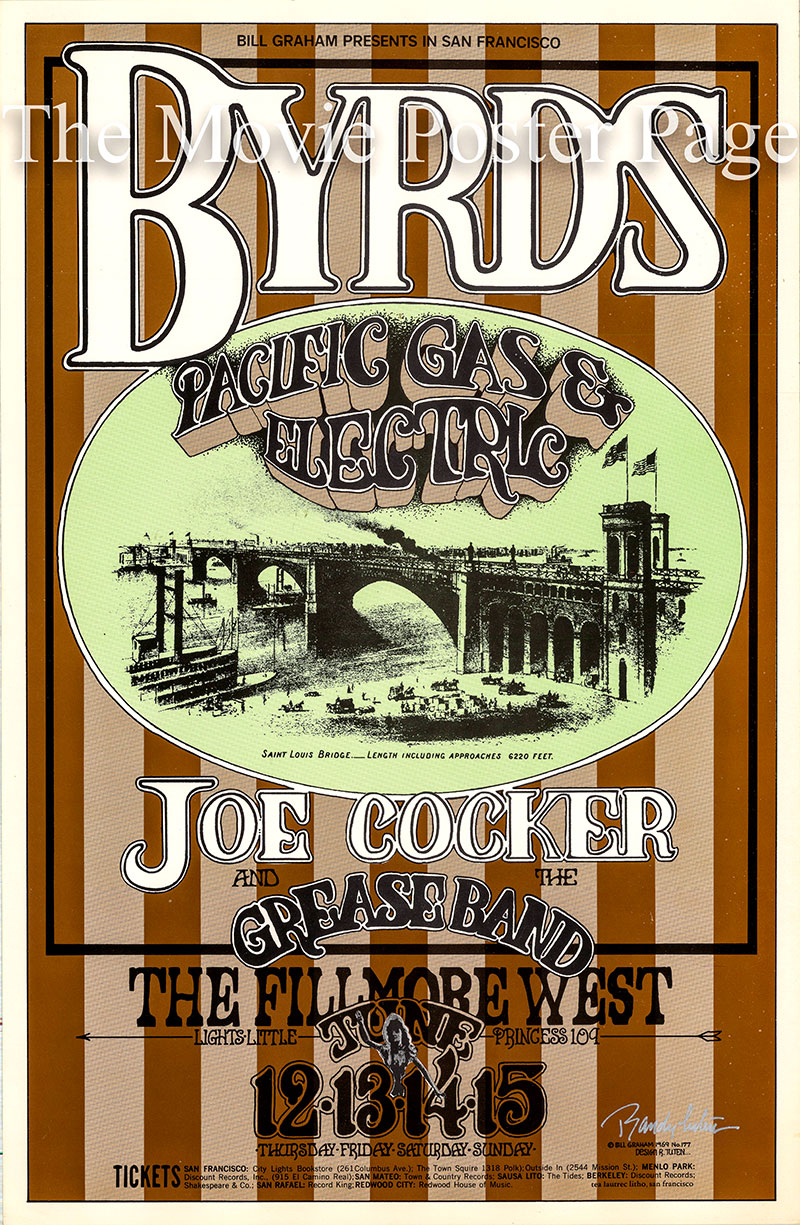 Pictured is a US promotional poster an appearance by the Byrds on June 12 1969 at the Fillmore West in San Francisco.