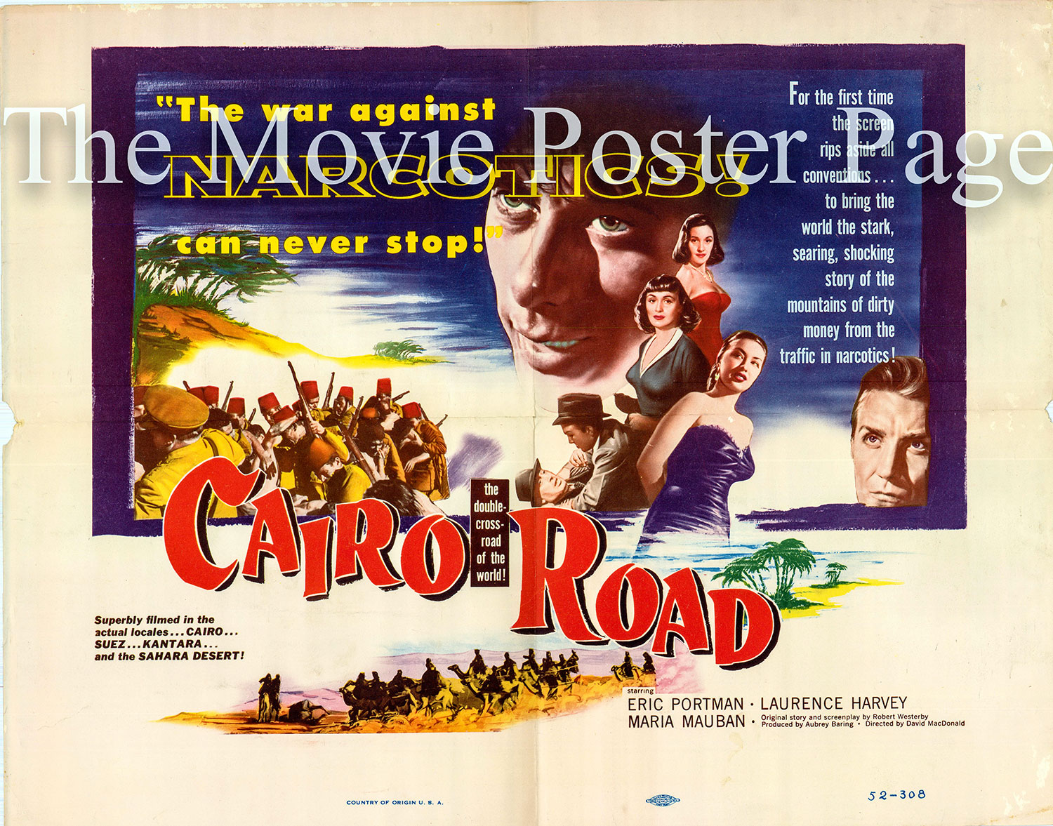 Pictured is a US half-sheet promotional poster for the 1950 David MacDonald film Cairo Road starring Eric Portman.
