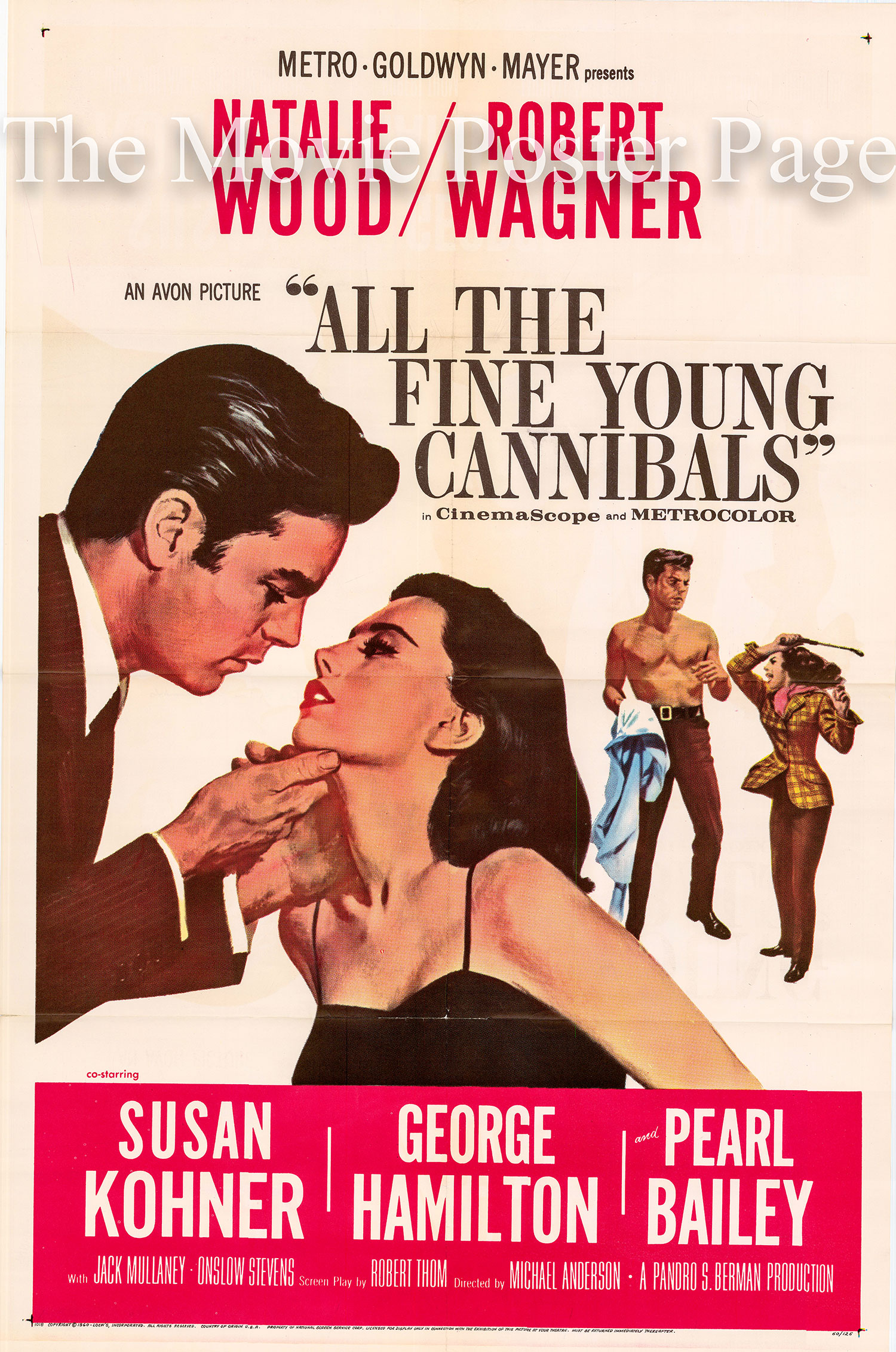 Pictured is a US promotional poster for the 1960 Michael Anderson film All the Fine Young Cannibals starring Natalie Wood.