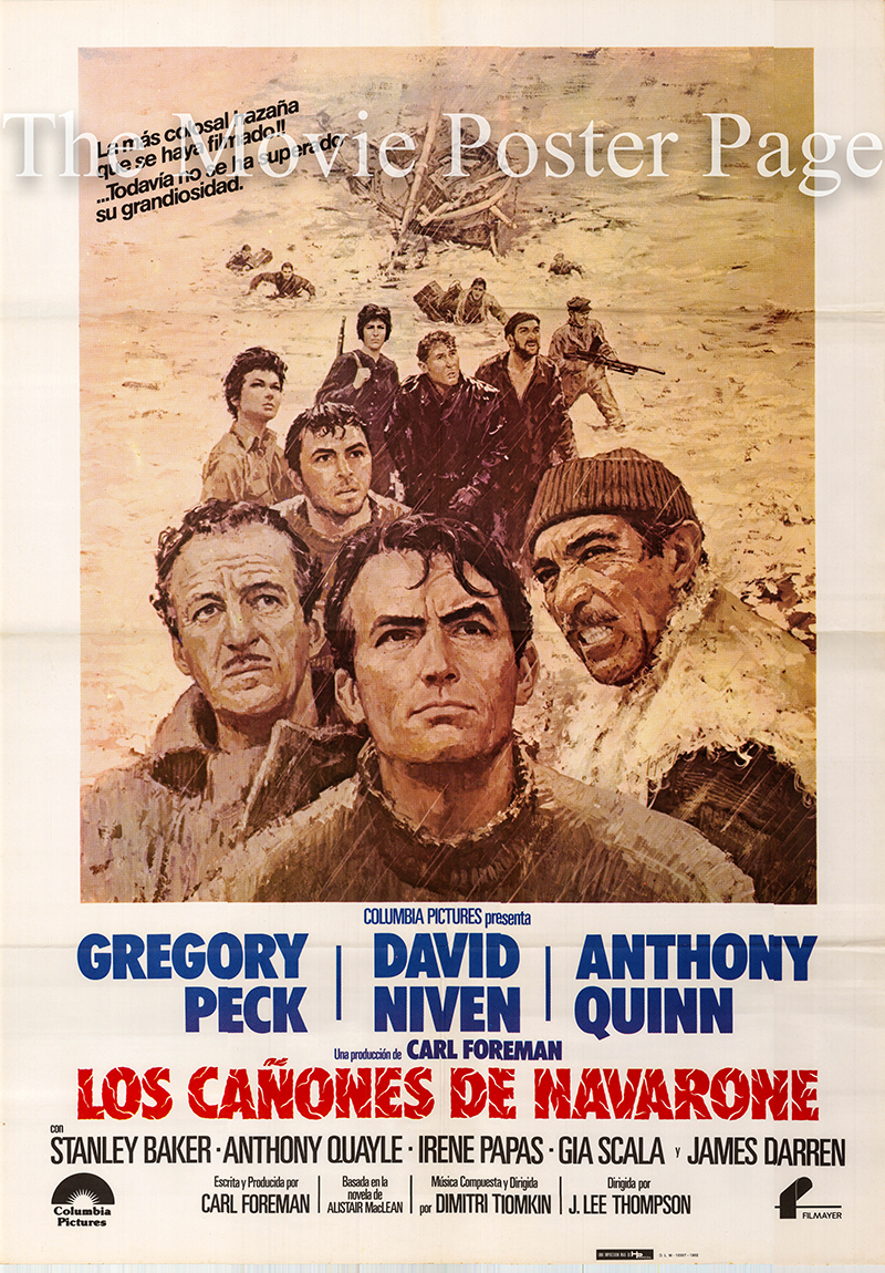 Pictuured is a Spanish one-sheet poster for a 1982 rerelease of the 1961 J. Lee Thompson film The Guns of Navarone starring Gregory Peck as Mallory.