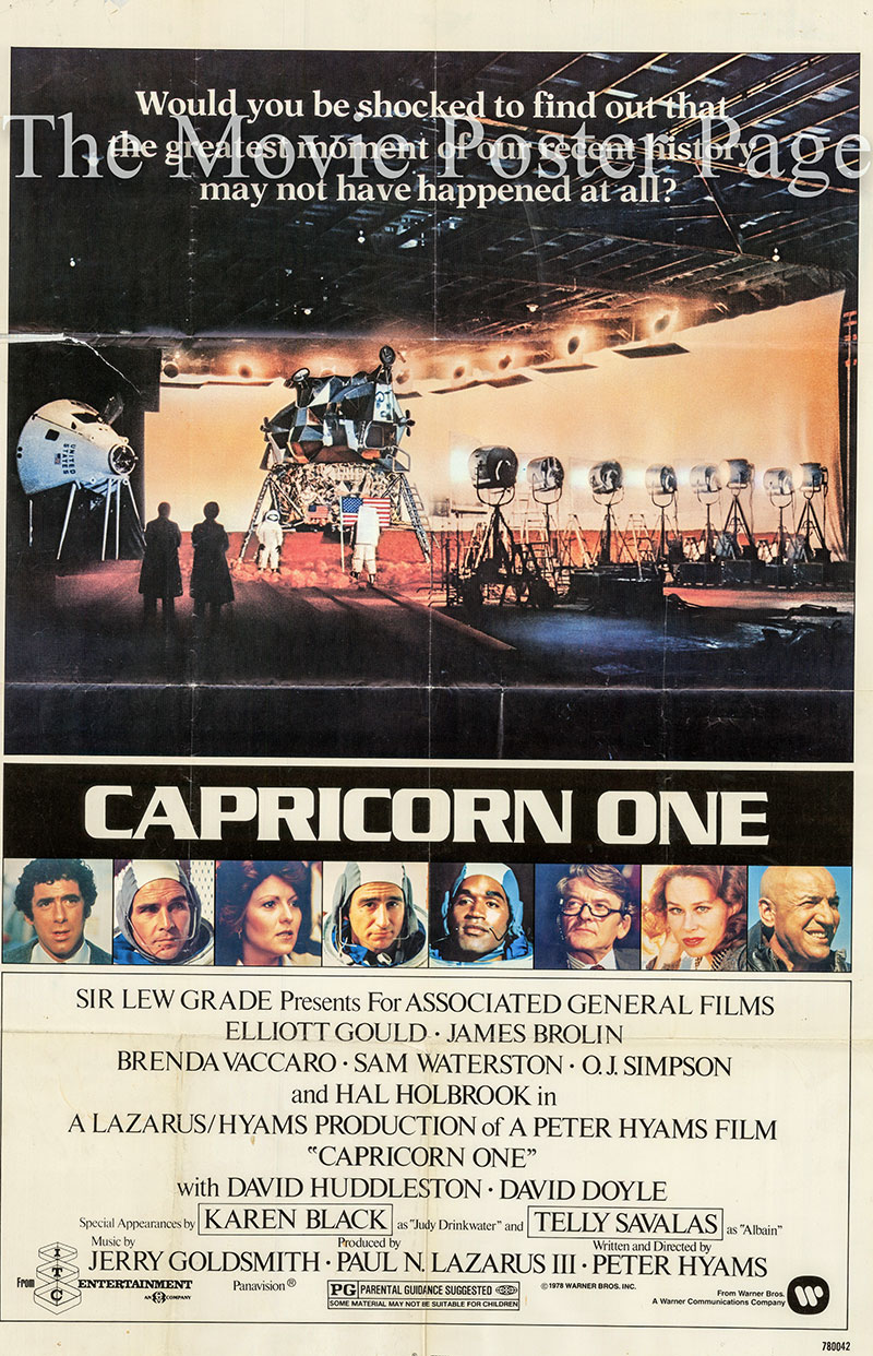 Pictured is a US one-sheet promotional poster for the 1977 Peter Hyams film Capricorn One starring Elliott Gould.
