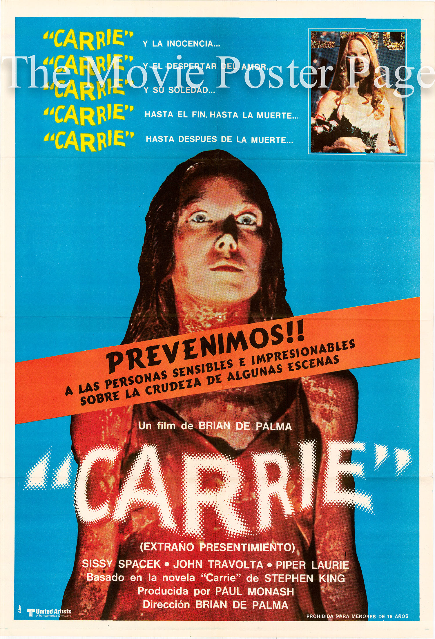 Pictured is an Argentine one-sheet poster for the 1976 Brian De Palma film Carrie starring Sissy Spacek as Carrie.