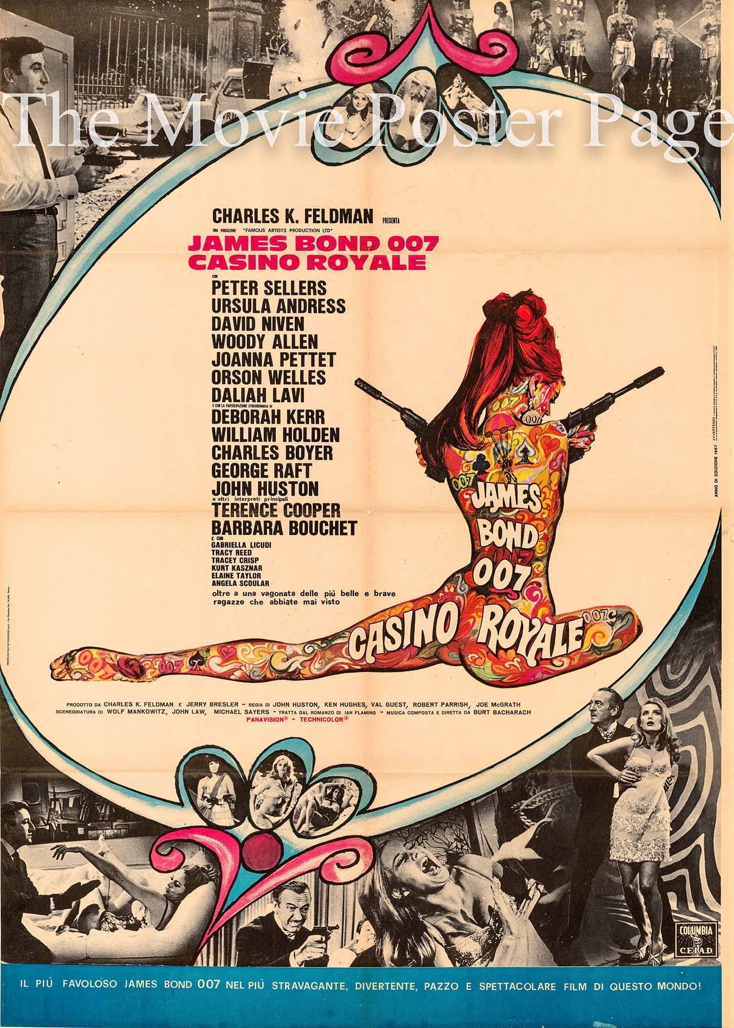 This is an Italian two-sheet poster designed to promote the 1967 Ken Hughes and John Huston film Casino Royale starring Peter Sellers as James bond.
