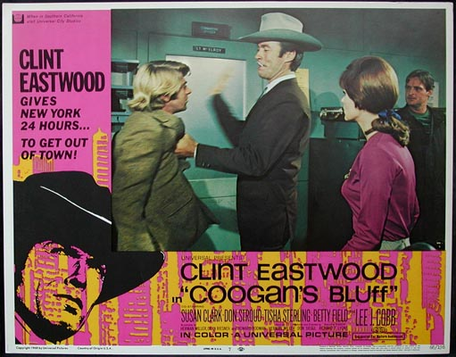 Pictured is a US lobby card for the 1968 Don Siegel film Coogan's Bluff starring Clint Eastwood.