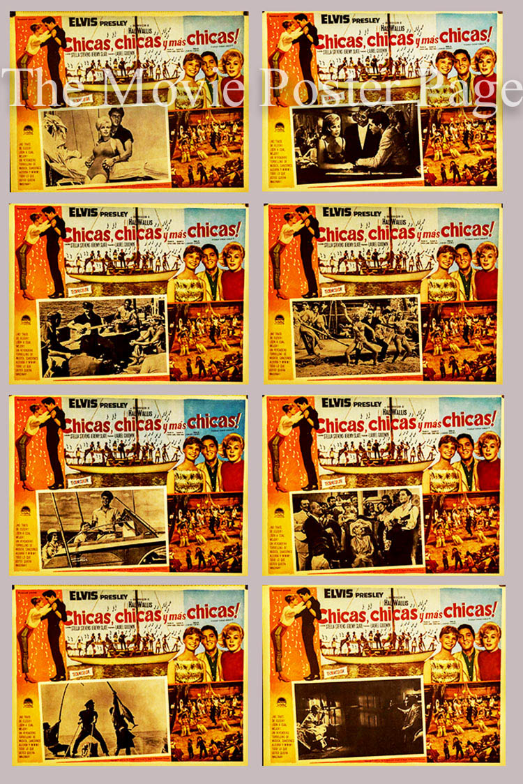 Pictured is a US Mexican lobby card set for the 1962 Norman Taurog film Girls! Girls! Girls! starring Elvis Presley.