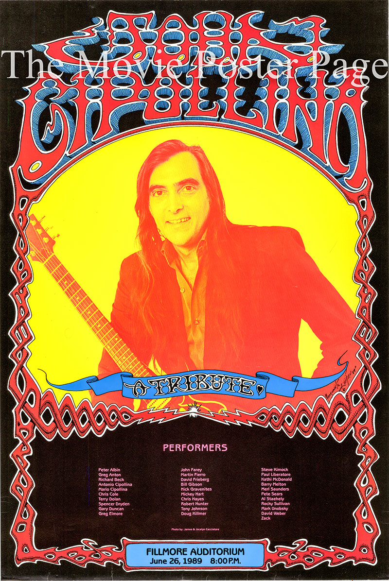 Pictured is a promotional poster for the June 26 1969 John Cipollina Tribute Concert.