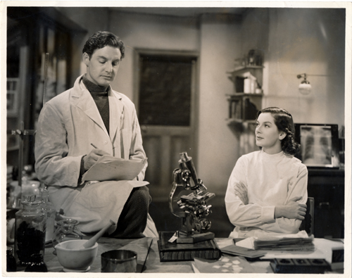 Pictured is a US promotional still photo from the 1938 King Vidor film the Citadel starring Rosalind Russell and Robert Donat based on the novel by A.J. Cronin.