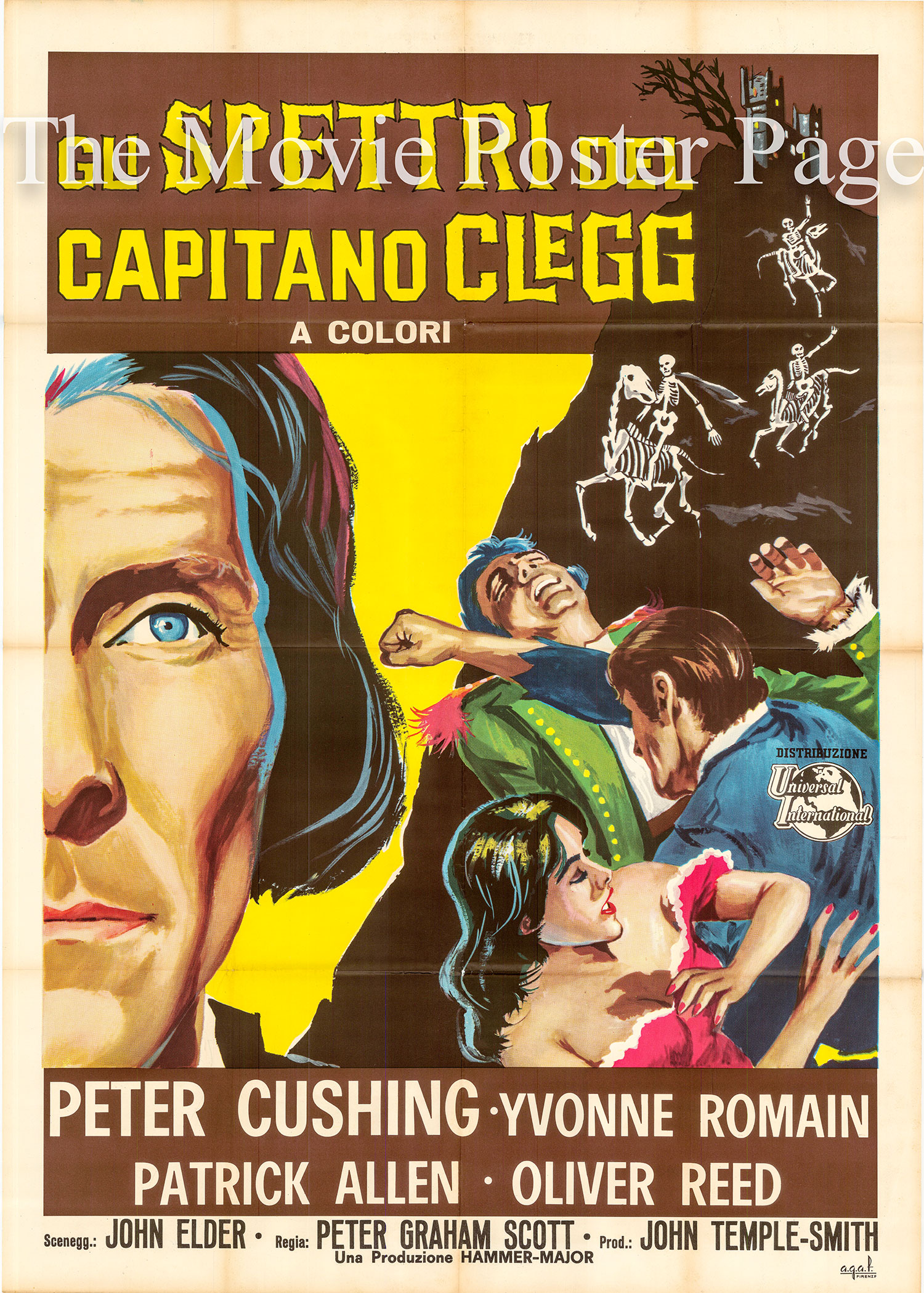 Pictured is an Italian two-sheet poster made to promote the 1962 Peter Graham Scott film Captain Clegg starring Peter Cushing.