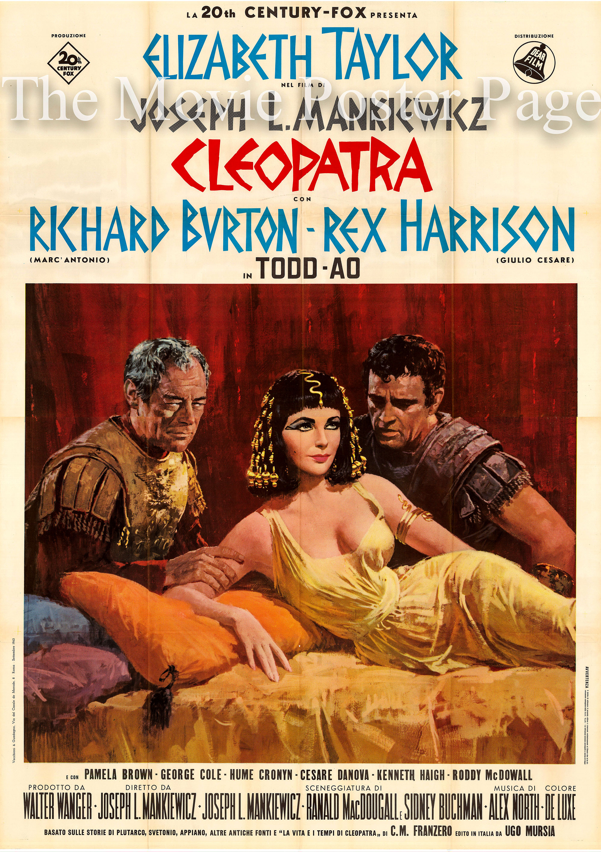 Pictured is an Italian four-sheet poster promoting the 1963 Joseph L. Mankiewicz film Cleopatra starring Elizabeth Taylor as Cleopatra.