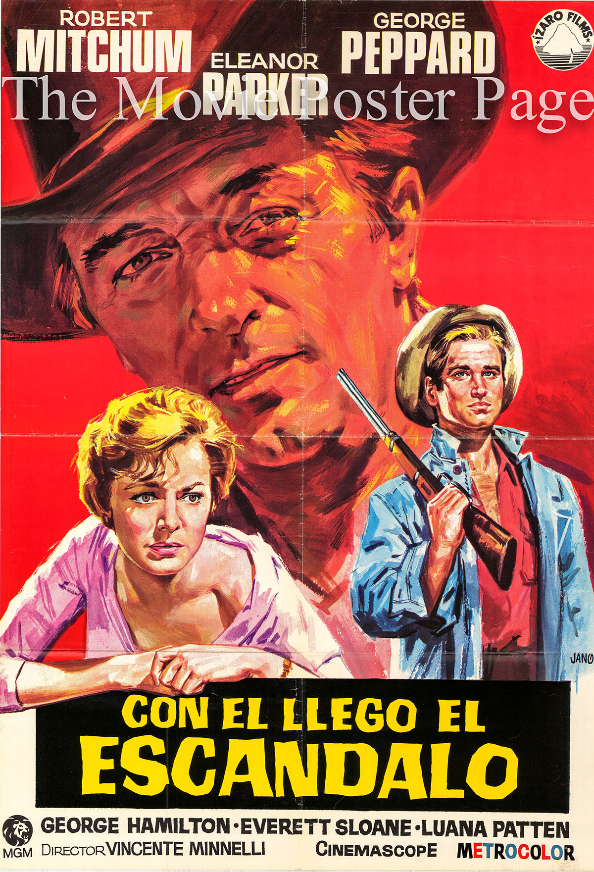 Pictured is a Spanish promotional one-sheet poster for a 1972 rerelease of the 1960 Vincente Minnelli film Home from the Hill starring Robert Mitchum.