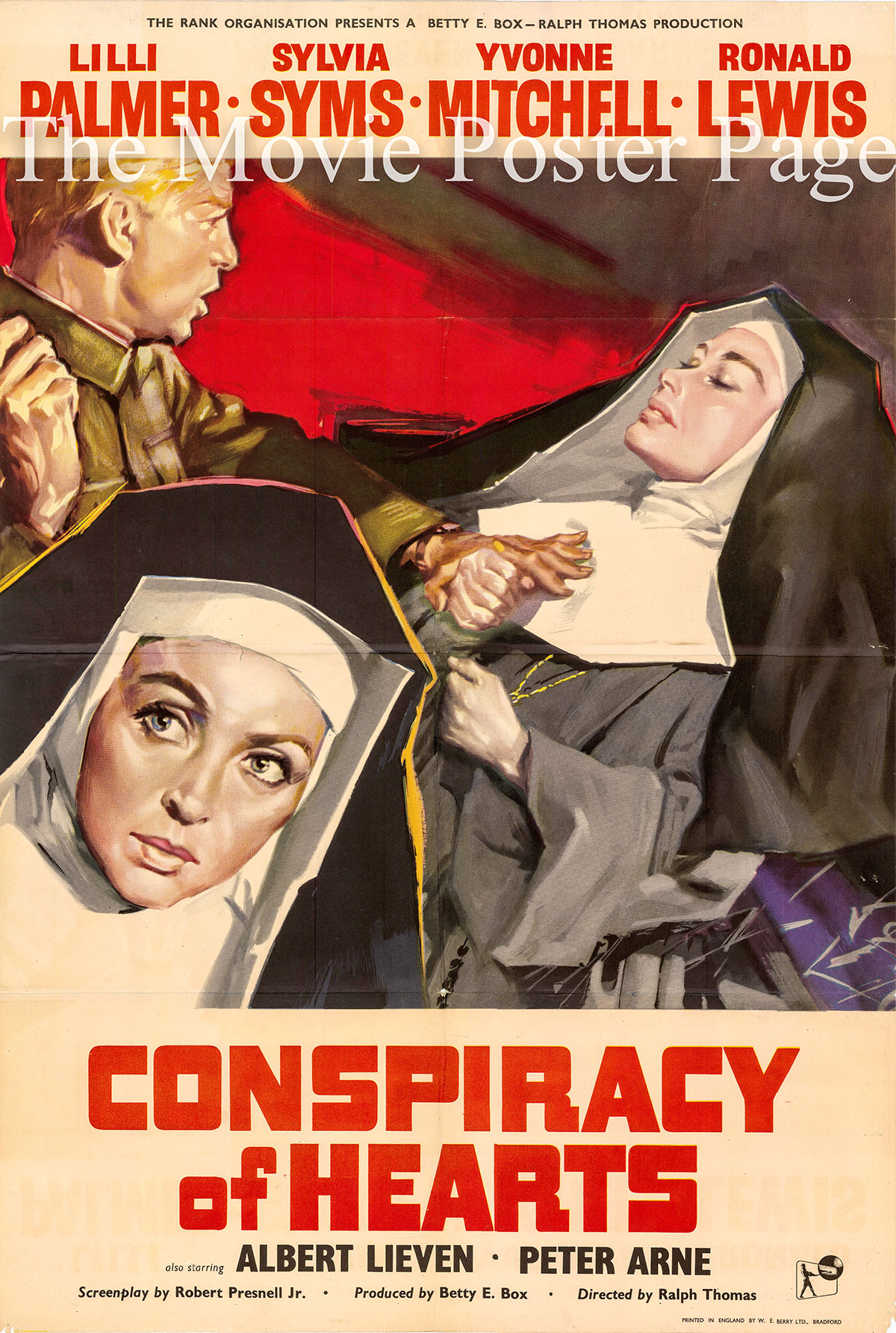 Pictured is a UK one-sheet poster for the 1960 Ralph Thomas film Conspiracy of Hearts starring Lilli Palmer.