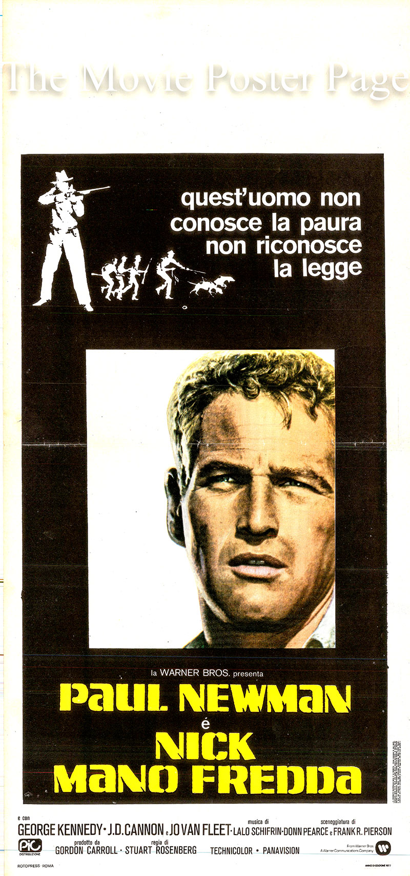 Pictured is an Italian locandina poster for a 1977 rerelease of the 1967 Stuart Rosenberg film <i>Cool Hand Luke</i> starring Paul Newman as Luke Jackson.