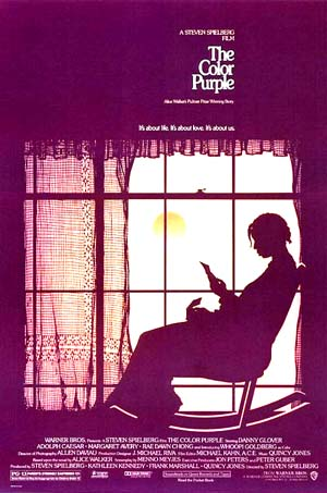 Pictured is a US one-sheet promotional poster for the 1985 Steven Spielberg film The Color Purple starring Whoopie Goldberg.