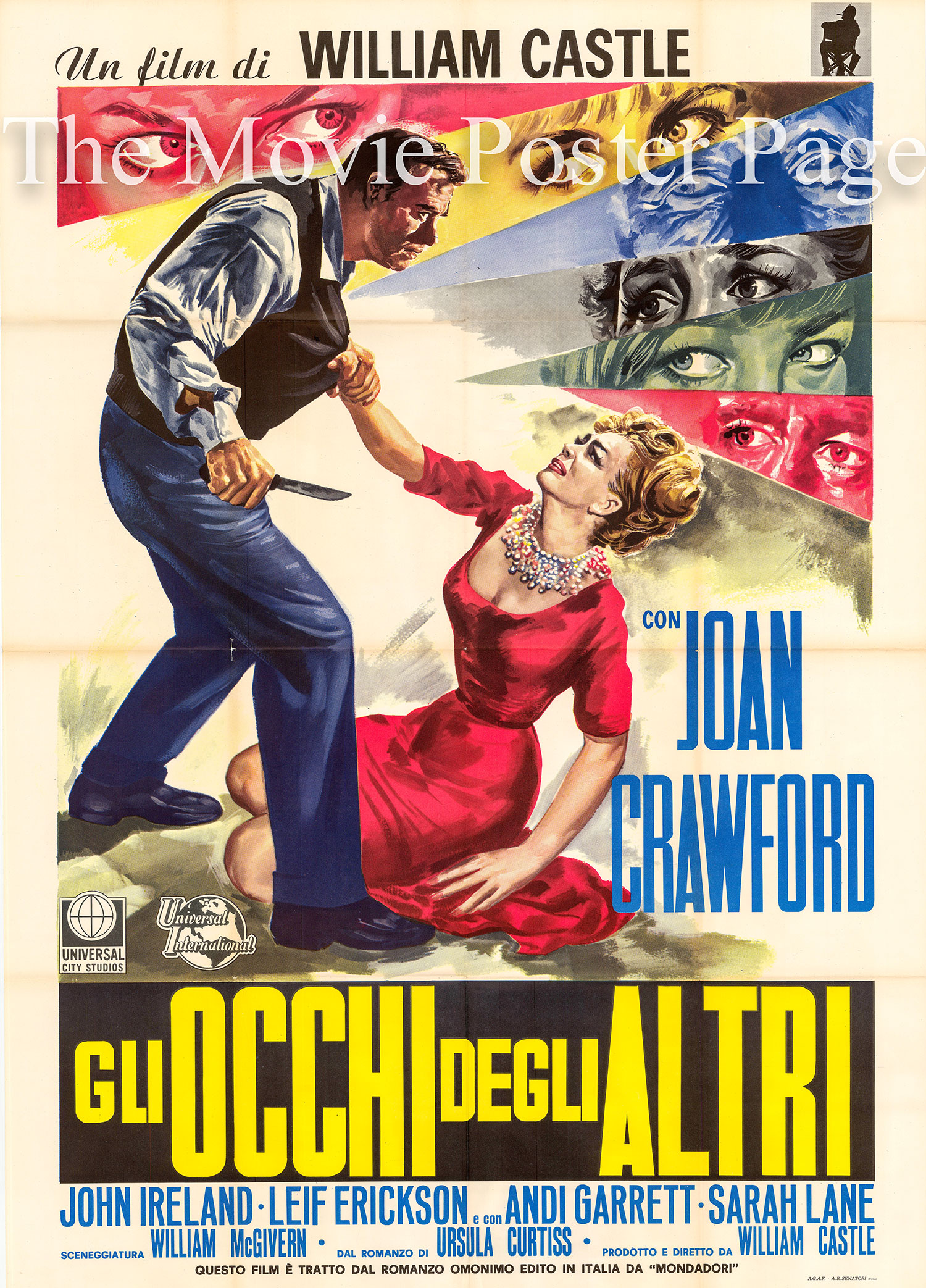 Pictured is an Italian two-sheet poster for the 1965 William Castle film I Saw What You Did starring Joan Crawford as Amy Nelson.