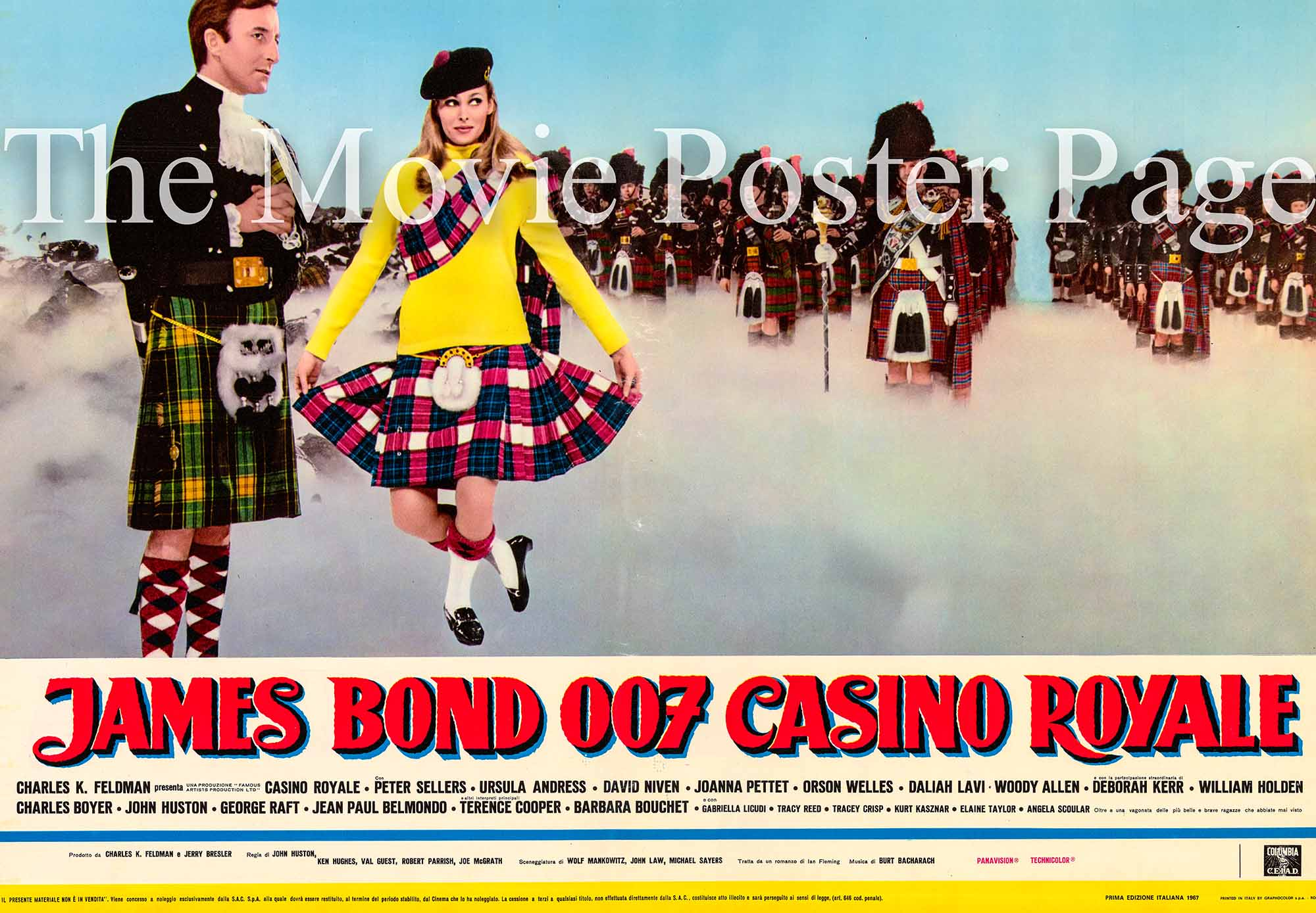 This is an Italian fotobusta poster designed to promote the 1967 Ken Hughes and John Huston film Casino Royale starring Peter Sellers as James bond.