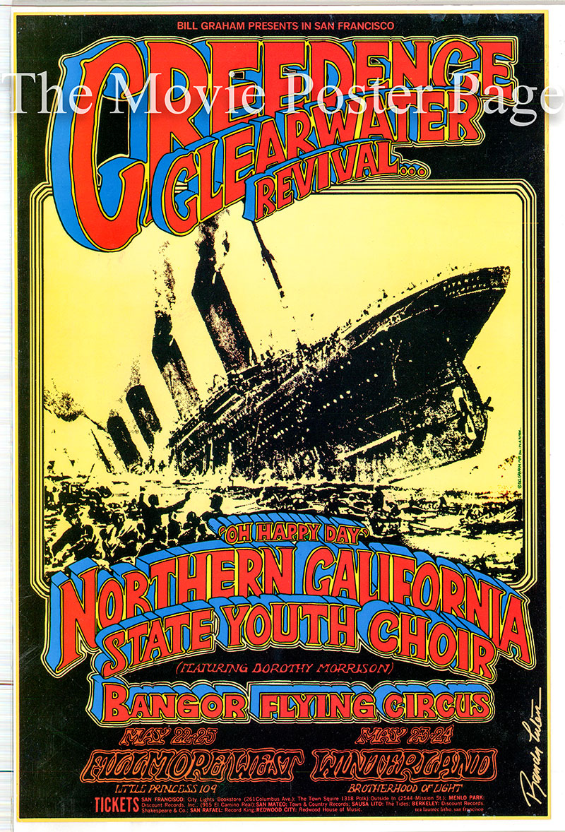 Pictured is a US promotional poster for performances by Creedence Clearwater Revival at two locations (the Fillmore West and Winterland) in the month of May 1969.