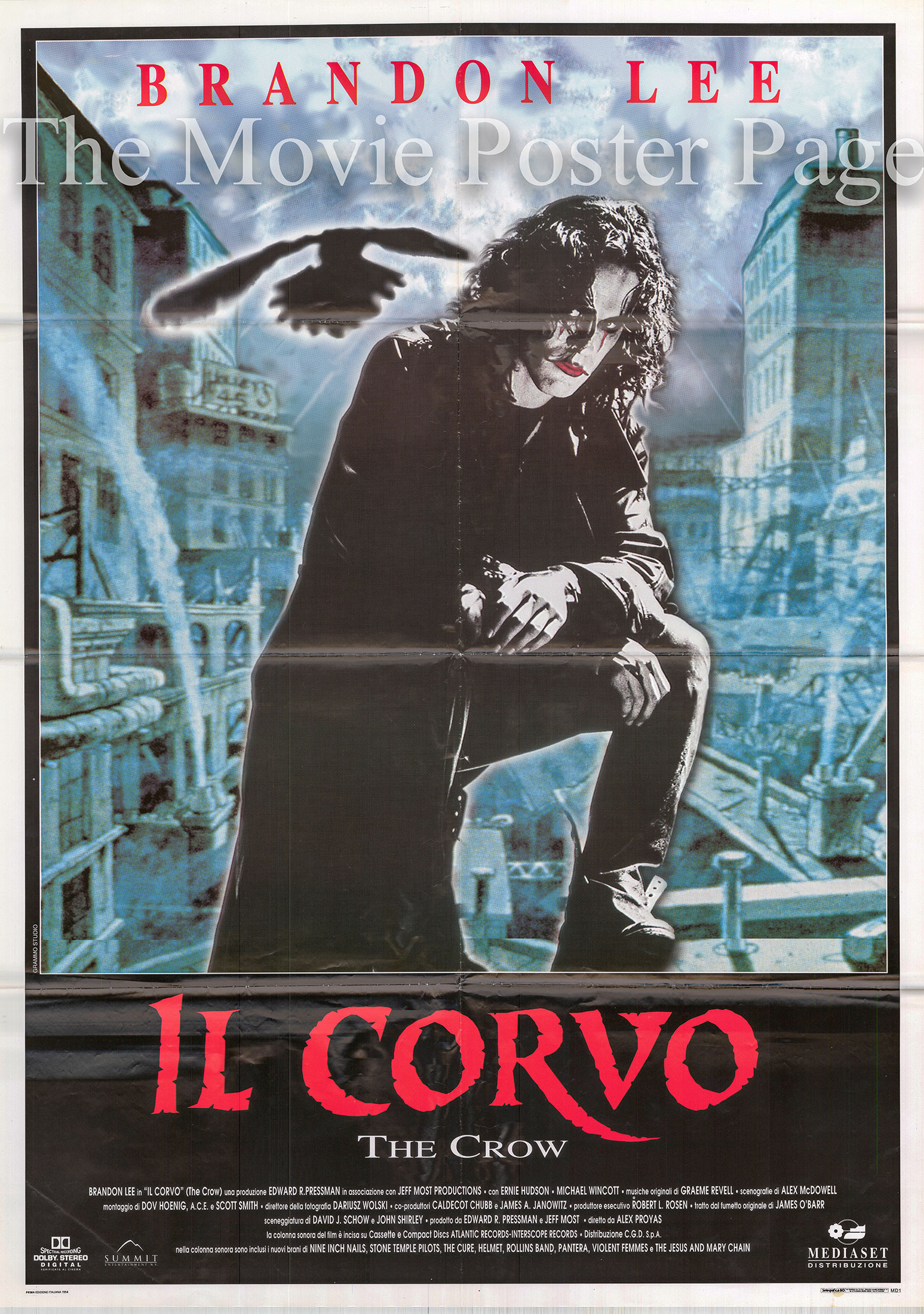 Pictured is an Italian two-sheet promotional poster for the 1994 Alex Proyas film The Crow starring Brandon Lee.