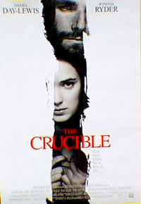 Pictured is the US one-sheet promotional poster for the 1996 Nicholas Hytner film The Crucible, starring Daniel Day-Lewis and Winona Ryder, based on the play by Arthur Miller.