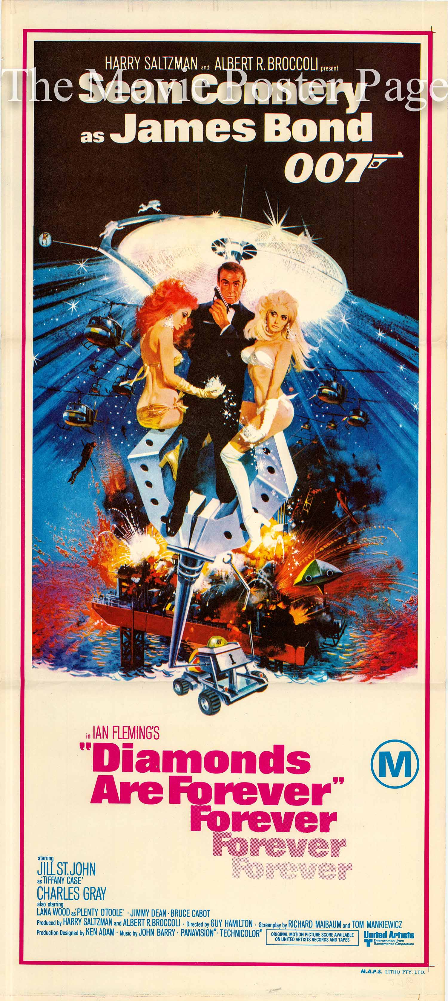 Pictured is an Australian daybill promotional poster for the 1971 Guy Hamilton film Diamonds are Forever starring Sean Connery as James Bond.