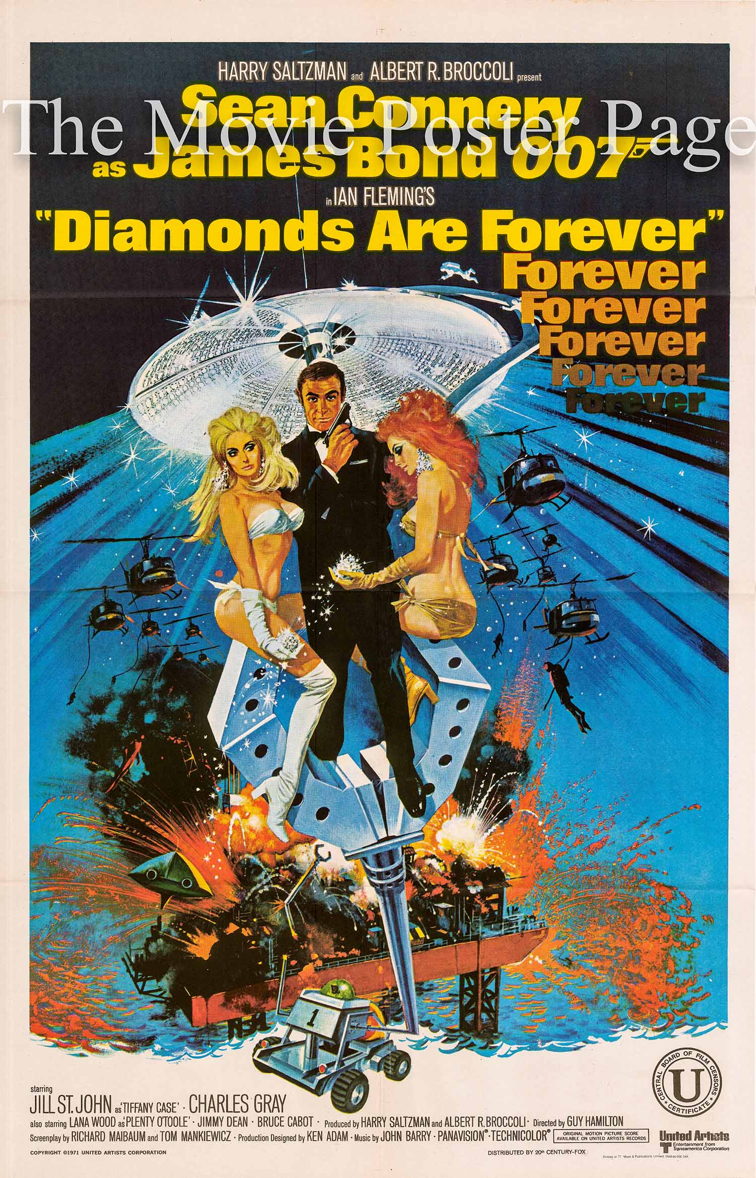 Pictured is an Indian one-sheet based on a Robert McGinnis design made to promote the 1971 Guy Hamilton film Diamonds Are Forever starring Sean Connery as James Bond.