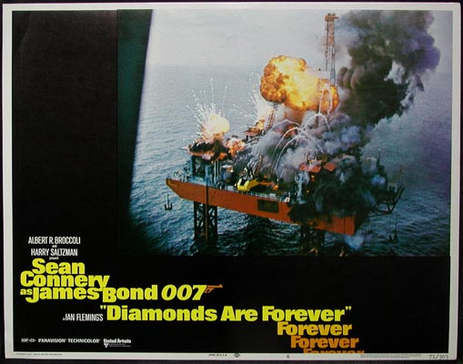 Pictured is a US lobby card for the 1971 Guy Hamilton film Diamonds are Forever starring Sean Connery.