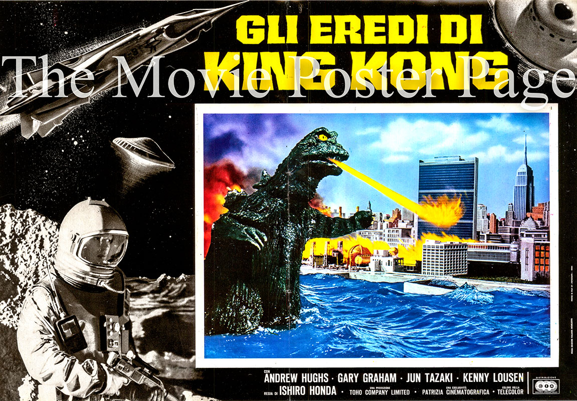 This is an Italian fotobusta poster for a a 1977 rerelease of	the 1968 Ishiro	Honda film <i>Destroy all Monsters</i> starring Akira Kubo as SY-3 Captain Katsuo Yamabe.