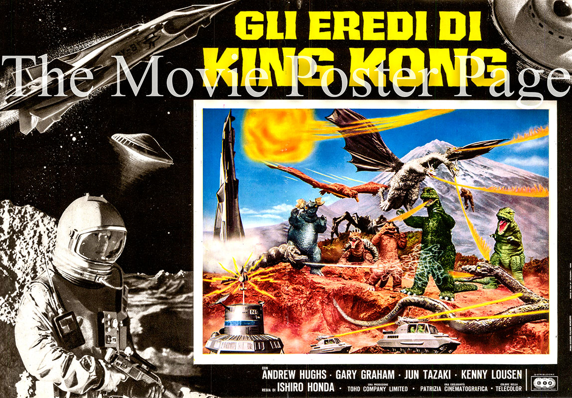 This is an Italian fotobusta poster for a a 1977 rerelease ofthe 1968 IshiroHonda film <i>Destroy all Monsters</i> starring Akira Kubo as SY-3 Captain Katsuo Yamabe.